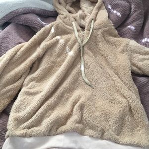 Soft fuzzy winter pullover hoodie
